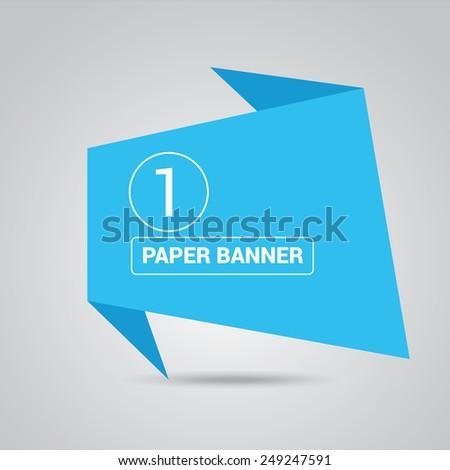 blue origami paper speech bubble or web banner .vector illustration - stock vector