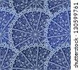 blue ornamental circle seamless pattern - stock vector