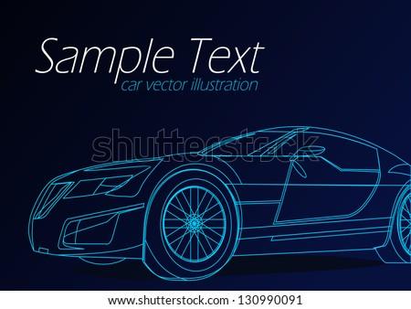 Blue Outline Car Background - stock vector