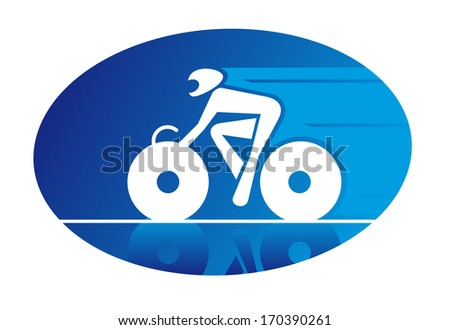 Blue oval icon of a racing cyclist on a bicycle logo travelling at speed and wearing a safety helmet. Rasterized version also available in gallery - stock vector