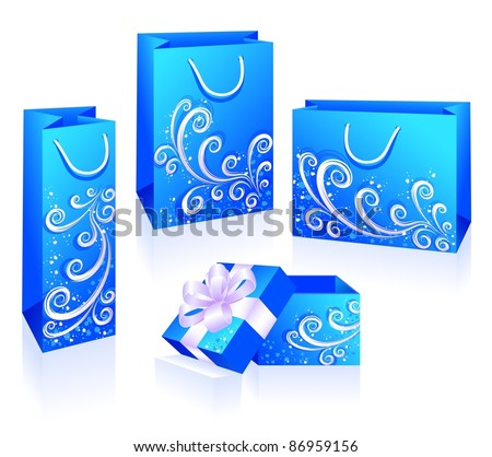 Blue packets and box isolated on the white background. Winter, celebratory subjects. Vector illustration. - stock vector