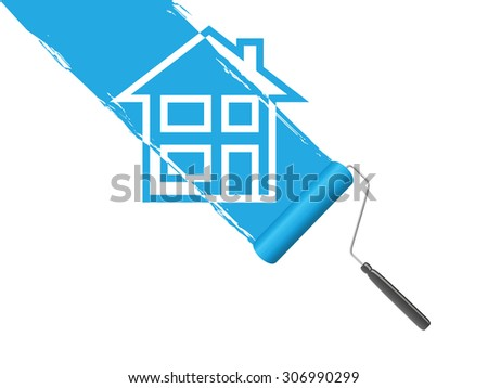 blue paint roller background - stock vector