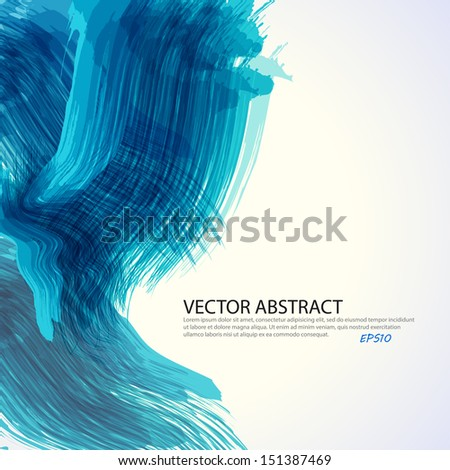 Blue paint splashes background. Vector background with place for your text. - stock vector