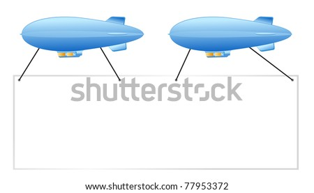 blue pair of sign blimps put your ad here - stock vector