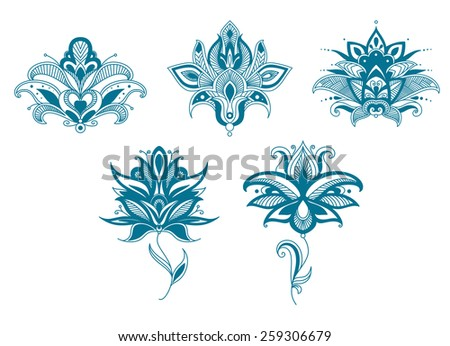 Blue paisley flowers set for indian or persian floral design - stock vector