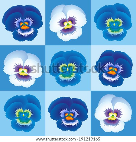 Blue pansy wallpaper - seamless background can be created. - stock vector