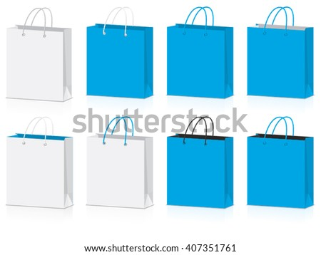 blue paper bag for your design EPS10 Vector Mock up easy to change color
