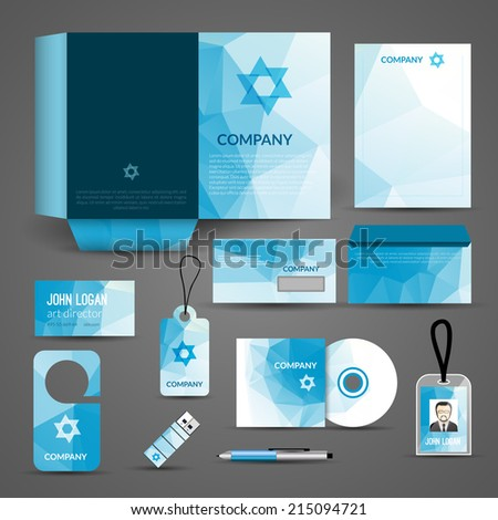 Blue paper business stationery layout template for corporate identity and branding set isolated vector illustration - stock vector