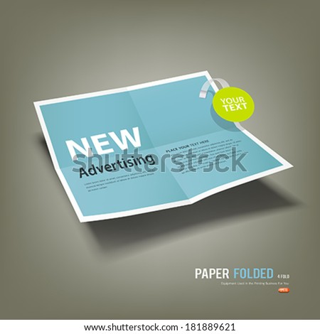Blue Paper Folded, four fold advertising for business design background, vector illustration - stock vector