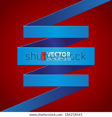 Blue paper folded ribbon on dark red background. RGB EPS 10 vector illustration