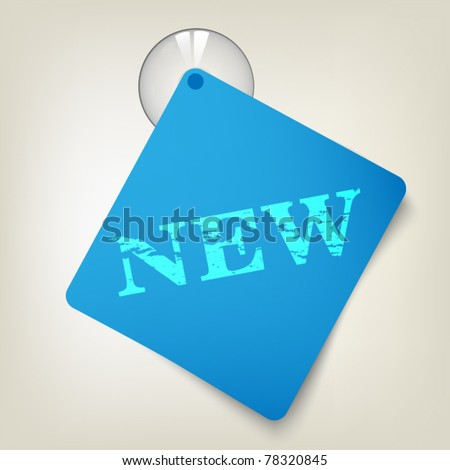 Blue paper with sucking disk - stock vector