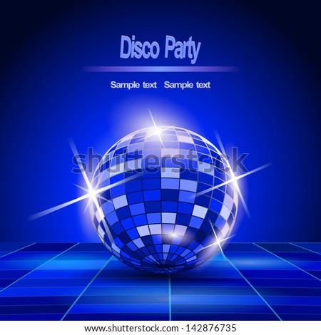 Blue Party background, disco ball - stock vector