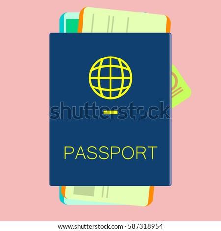 Blue Passport Visa Documents Tourism Stock Vector 587318954