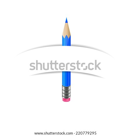 Blue pencil and white blank paper banner - stock vector