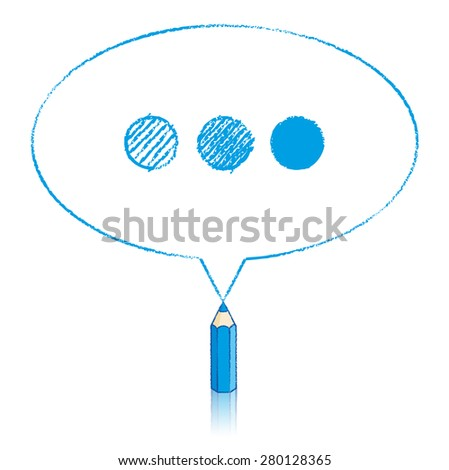 Blue Pencil with Reflection Drawing Oval Speech Bubble containing Shaded Ellipsis on White Background - stock vector