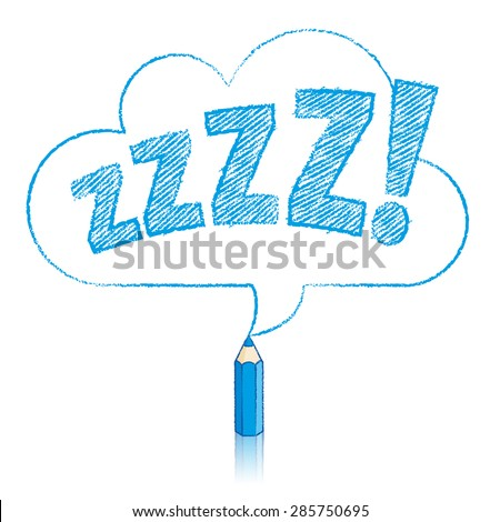 Blue Pencil with Reflection Drawing Snoring Zzzz Cloud Shaped Speech Bubble on White Background - stock vector