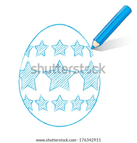 Blue Pencil with Shadow Drawing Easter Egg plus Stars on White Background - Vector