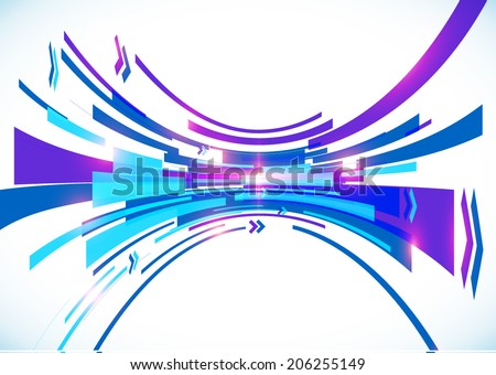 Blue perspective bow vector abstract background - stock vector