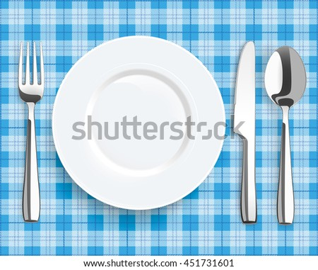 Blue picnic blanket with plate, spoon, knife and fork. Eps 10 vector file.