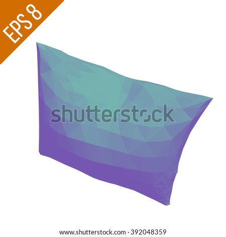 Blue pillow isolated on white background. Vector illustration.