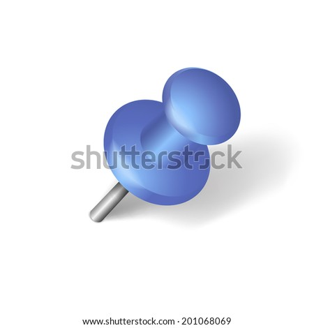 Blue pin isolated on white background - stock vector