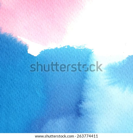blue pink abstract watercolor stain/ background for your design/ vector illustration - stock vector