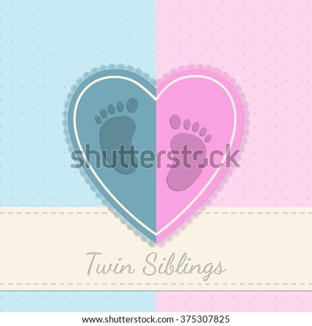 Blue pink baby shower invitation with twin siblings text - stock vector