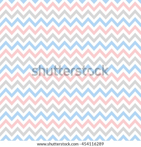 blue, pink, gray & white chevron pattern, seamless texture background - stock vector
