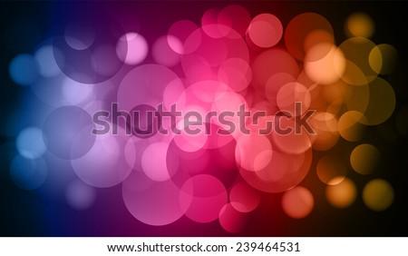 blue pink orange color Defocused Light, Flickering Lights, Vector abstract festive background with bokeh defocused lights.  - stock vector