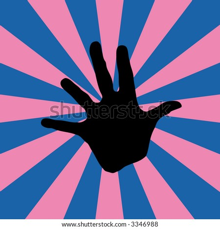 blue-pink retro background with a hand (vector eps format) - stock vector