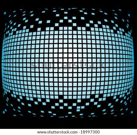blue pixels orb - stock vector