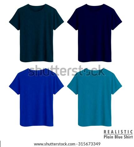 Blue plain shirt realistic vector illustration - stock vector
