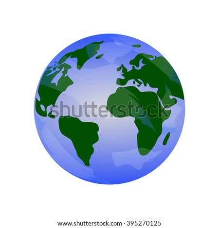 Blue Planet Earth with green continents.