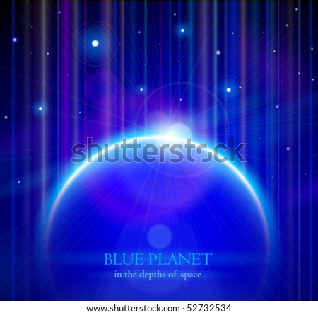 Blue Planet Earth with Rising Sun, Stars & Color Space - vector EPS10 - stock vector
