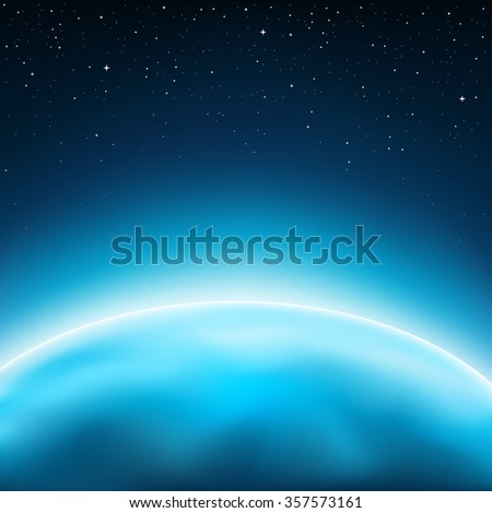 Blue planet horizon concept. Stars and space on background - stock vector