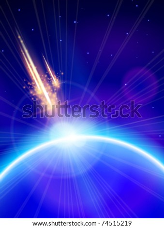 Blue Planet & Meteor Storm. Vector illustration. Eps 10 - stock vector