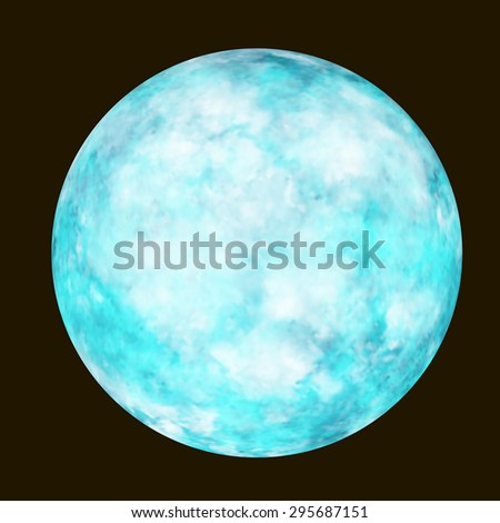 Blue planet on the black background. Vector illustration