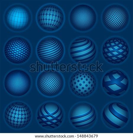 Blue planet symbols, vector - stock vector