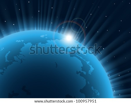 Blue planet. Vector illustration. EPS 10. - stock vector
