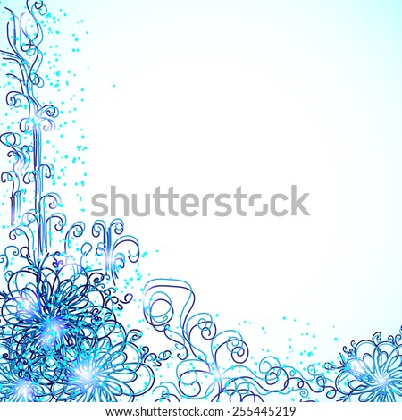 blue plant ornate for your design - stock vector