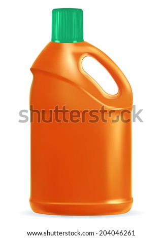 Blue plastic bottle of cleaning product. EPS-10 - stock vector