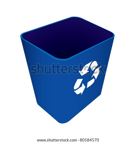 Blue plastic recycle waste can or bin - stock vector