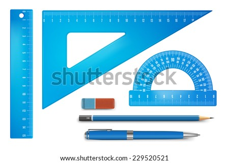 Blue plastic ruler instruments. Vector illustration. - stock vector