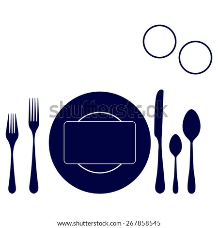 blue plate with spoon, knife and fork