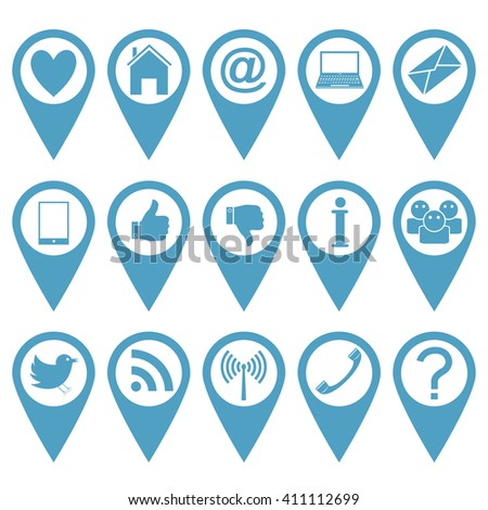 Blue pointer icon set. Heart, house, mail, laptop, message, phone, like, info, people, bird, wi-fi, question mark