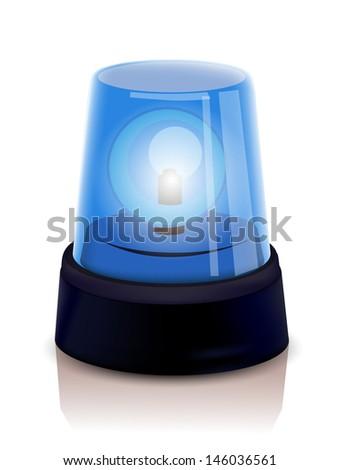 Blue Police beacon - stock vector