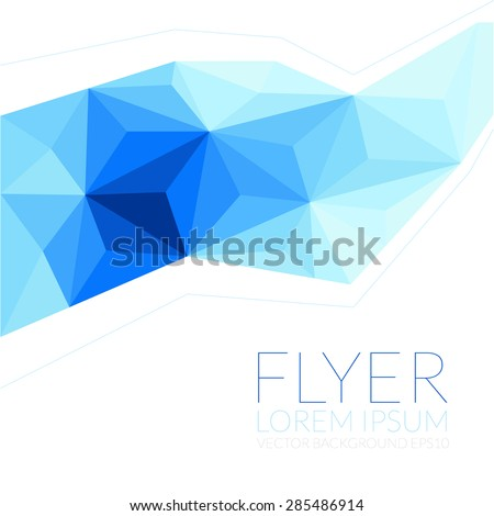 Blue Polygon Background Flyer Template Brochure Stock Vector
