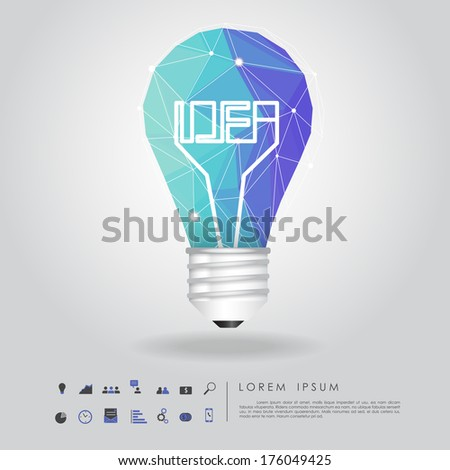 blue polygon idea light bulb with business icon vector - stock vector