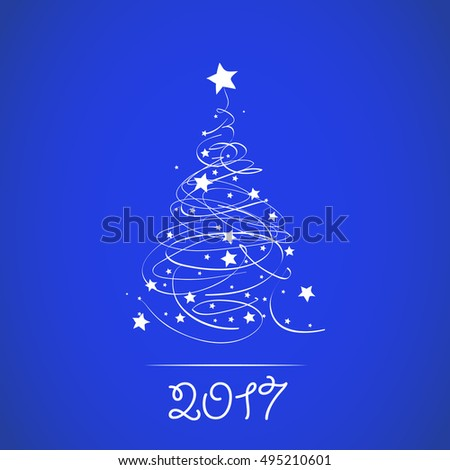 Blue postcard with Christmas tree and stars