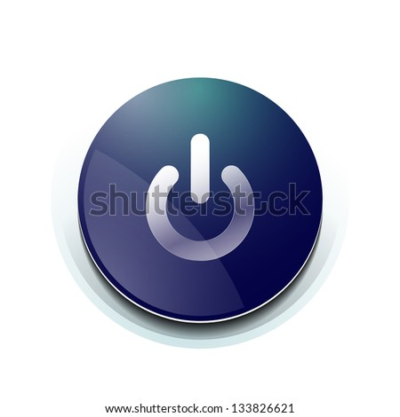 Blue power button design isolated on white - stock vector